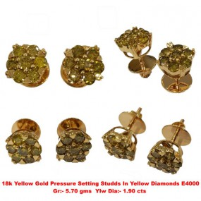 Yellow diamond Pressure Setting Earring