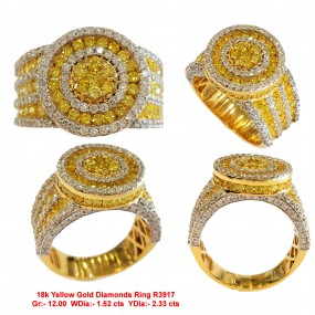 YELLOW AND WHITE DIAMOND MEN RING
